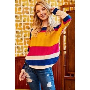NWT Multi color striped rubbed king sleeve top